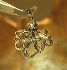 17mm Hawaiian Solid 14k Yellow Gold Textured He'e Tako Shiny Octopus Pendant
