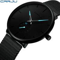 Waterproof Men's Minimalist Ultra-Thin Analog Dress Stainless Steel Wrist Watch