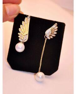 Angel Wings Gold Plated Stud Earrings Crystal Faux Pearl Drop Dangle Earrings