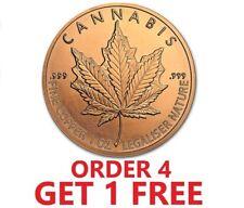 1 Ounce .999 Fine Copper Round - Cannabis Leaf