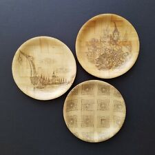 """New ListingSet of 3 Vintage Bamboo Souvenir Plates 6"""" with Traditional Southeast Asian Art"""