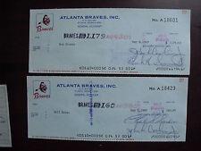 Lot of 2 Vintage 1969 Atlanta Braves Cancelled Checks
