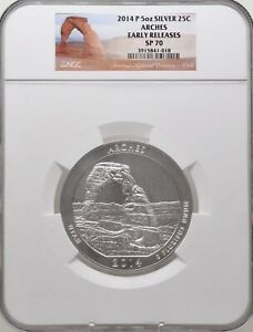 2014 P 5oz Silver 25C Arches Early Releases NGC SP 70 perfect must see!