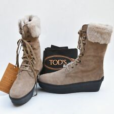 TOD'S New sz 41 - 11 Authentic Designer Womens Fur Shoes Boots lace up brown