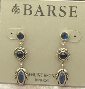 Barse Masquerade  Earrings- Onyx & Indigo Quartz- Bronze- New With Tags