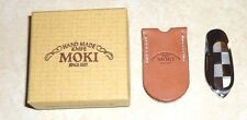 Moki Mini Stainless Steel Pocket Knife with Mother of Pearl Handle& Leather Case