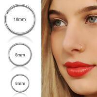 Women Cute Surgical Steel Thin Small Nose Lip Ring Hoop Cartilage Piercing Studs