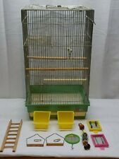 "Vintage 24"" x 14"" Metal Wire Plastic Bird Cage Finch Canary Pet Dish Mirror Bell"