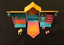 "🔥 Polly Pocket Folding Dog House 2001 Purple Teal Pink 4"""