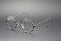 46mm Retro/Vintage Round Eyeglasses men women RX Glasses Frames grey wire rim