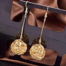 Gold Plated Long Drop Dangle Ball Earrings In Velvet Gift Bag.