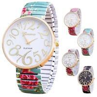 Luxury Women Fashion Elasticity Flower Shrink Bracelet Quartz Analog Wrist Watch