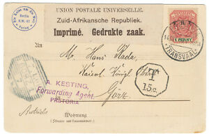 Boer War 14 December 1900 Propaganda Postcard Transvaal Pretoria to Gorz, Italy.