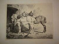 Nicolas SICARD (LYON 1840-1920) GRANDE GRAVURE EAU FORTE CHEVAUX ECURIE 1880