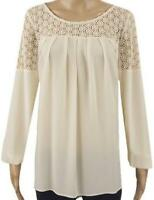 New Ex M&S Cream Long Sleeve Casual Top Size 14 - 20 Broderie Anglais Textured