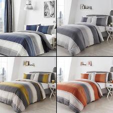 Betley Stripe Duvet Quilt Cover Set Blue Multi, Orange, Grey, Yellow