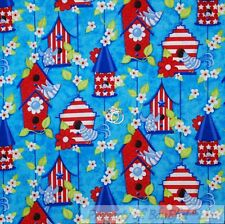 BonEful Fabric Fq Cotton Quilt Blue Red White Bird House Flower American Stripe