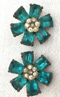 Vintage High End 1930's Turquoise Rhinestone Clip on Earrings