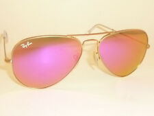 New RAY BAN Aviator Sunglasses Matte Gold Frame RB 3025 112/4T  Cyclamen Mirror