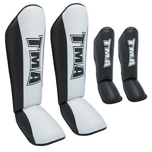 TMA Leather Shin Instep Protector Pads MMA Leg Foot Guard MuayThai KickBoxing