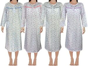 Women Night Dress Shirt Pyjamas Ladies Floral Nighty Cotton Full Sleeves Pjs
