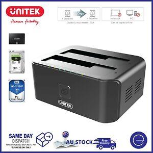 "Dual Bay 2.5""/3.5"" Hard Drive USB Docking Station HDD/SSD SATA Duplicator Reader"