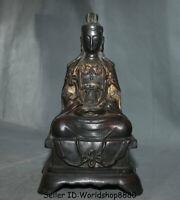 """9.2"""" Antique Chinese Bronze Seat Kwan-Yin Guan Yin Boddhisattva Goddess Statue"""