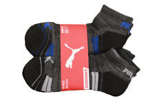 Puma Men's 6 Pack Quarter-Crew Sport Socks, Black/Blue, Sock Size 10-13