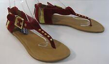verano rojo/Dorado Moda Para Mujer Sandalias Estilo Gladiador Tamaño 5.5