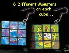 HUGE Funky GAME CUBES EARRINGS Rubik Magic Puzzle Novelty Costume Jewelry-WORKS!