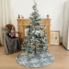 2021 New Blue Christmas Tree Skirt With White Snowflake For Holiday Decoration