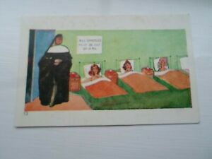 NUNS Dormitory Humour - All Candles Must Be Out by 8.30 - Comic Postcard §DP910