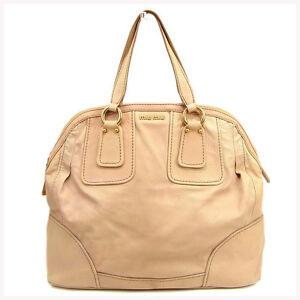 miumiu Handbag Logo Pink Gold Woman Authentic Used Y7547