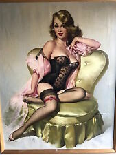 ELVGREN FOUND ORIGINAL  LOLA ORIGINAL 1953 PAINTING Pin-Up CORSET Lingerie PINUP