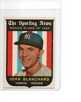 1959 Topps #117 John Blanchard Rookie Card NY Yankees Rookie Stars SEE SCANS