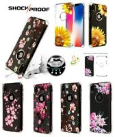 For iPhone XS Max XR X 7 8 Flower Bling Hybrid Armor Rubber Protector Case Cover