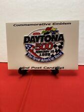 1998 Daytona 500 Commemerative Stitched Emblem Patch And Postcard Set Nascar