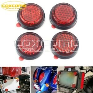 Car Truck Motorcycle ATV Red Reflector Motorcycle License Plate Bolts Set of 4