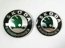 Skoda Boot Bonnet Front Back Emblem Badge Chrome Green Black Logo 90mm + 80mm