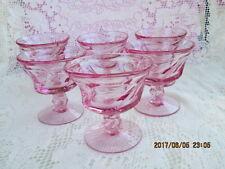 Lot/ 6 FOSTORIA PINK CRYSTAL JAMESTOWN SHERBET Dessert GOBLETS Stemmed Glasses