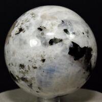 """2.5"""" Rainbow Moonstone Sphere Natural Feldpsar Gemstone Crystal Mineral - India"""