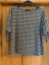 Marks And Spencer Navy And White Check Size 14 Tshirt