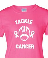 Ladies Tackle T-shirt Breast Cancer Survivor Pink Shirt Ribbon Support Women Tee