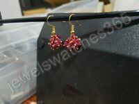 Genuine Ruby Earrings beads Jewelry Cluster Earrings July Birthstone for her