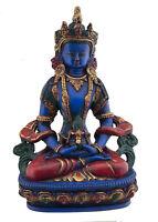Soprammobile Tibetano Aparmita Amitayus IN di Resina Blu Lapis Dipinto 20cm 4054