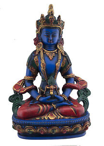 -statue Tibetische Aparmita Amitayus IN Harz -blau Lapis Unlackiert 20cm 4054