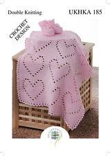 UKHKA 185 Baby Double Knit Crochet Pattern for Heart Pattern Blanket & Bootees
