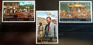1977 Ascension Islands Full Set Of 3 Stamps - Silver Jubilee - PC/LH