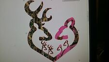 Neon Hot  Pink camo heart with 2 Boys and 2 girls  Sticker