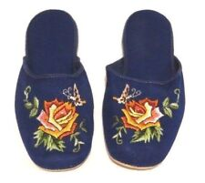Handmade Embroidered Floral Orange Rose Chinese Women's Cotton Slippers New